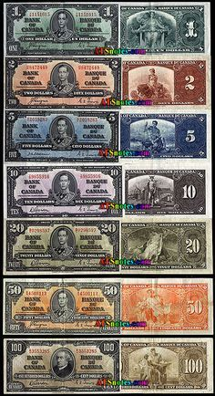 Canada banknotes, 1937 - Canada paper money catalog and Canadian currency history. Canadian Facts, Canadian History, Money Notes, Canadian Coins, Valuable Coins, Coins Worth Money, Old Money, Old Coins, Antique Coins