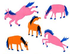 Wild Horses. Colorful 8x10 Inch Risograph Print. by AliciaMakes