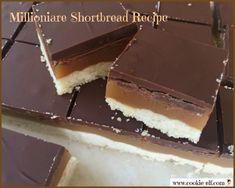 Millionaire Shortbread Recipe: ingredients, directions, and special baking tips from The Elf for making Millionaire Shortbread, a unique and popular layered shortbread. Cake Mix Cookie Recipes, Chocolate Cookie Recipes, Oatmeal Chocolate Chip Cookies, Cake Mix Cookies, Dessert Recipes, Desserts, Easy No Bake Cookies, Cookies For Kids, Millionaire Shortbread Recipe