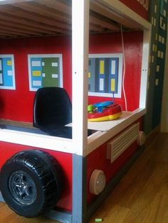 Fire truck loft bed ikea hack from the front - Ikea fire truck bed ...