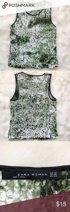 Zara Ombré Sequin Shirt Beautiful Green, white, and black sequins cover this perfect simple shirt that goes with everything! Zara Tops
