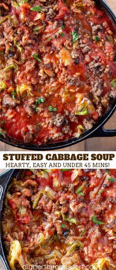 Stuffed Cabbage Soup is hearty, filling, and tastes just like cabbage rolls, mad… Cabbage Roll Soup, Cabbage Soup Diet, Cabbage Soup Recipes, Cabbage Rolls, Diet Soup Recipes, Stuffed Cabbage Soup, Stuffed Pepper Soup, Ground Beef And Cabbage, Soup With Ground Beef