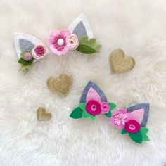 Ivory, silver, rose, oatmeal, and light pink kitty ears! Perfect for Valentines Day into summer! All handcut from high quality wool blend felt. Ears are double layered with batting between layers for durability! Can be made into a set of alligator clips or as a felt wrapped headband
