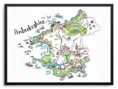 Printed on reproduction watercolour paper, giving it a beautiful textured finish. Map Of Pembrokeshire, Watercolor Paper, Illustration, Diagram, Prints, Frames, House, Ideas, Illustrated Maps