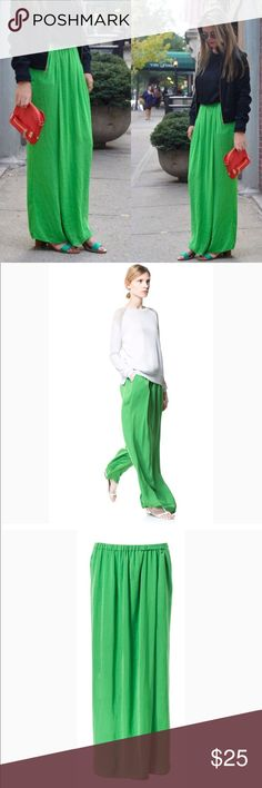 Zara sarong trousers Zara green satin sarong trousers - EUC- looks like a skirt in front and pants on the back, elastic waistband, 2 front pockets, size M. Zara Pants Trousers
