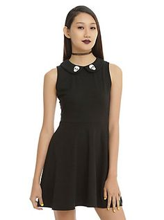 bcf84cc1613 Black Skull Print Collar Skater Dress