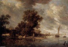 Paysage Rivière à Arnheim (2), huile sur toile de Salomon Van Ruysdael (1602-1670, Netherlands)