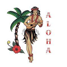 'Jerry Style Traditional Aloha Hula Pinup Girl In Hawaii ' by BunnyThePainter Hawaiian Girl Tattoos, Hula Girl Tattoos, Hawaii Tattoos, Pin Up Girl Tattoo, Hawaiian Girls, Hawaiian Art, Vintage Hawaiian Shirts, Pin Up Tattoos, Traditional Tattoo Globe