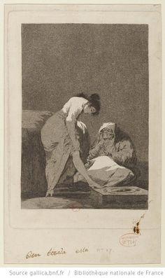 GOYA [Los caprichos]. [P. 17], [Bien tirada está] : [estampe] / [Goya] - aquatinte au fond, burin et eau forte personnages
