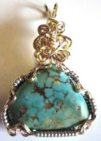 Handcrafted Gold and Silver Turquoise Pendant