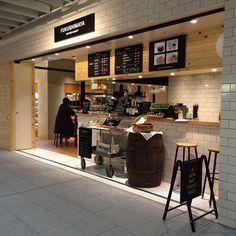 Be a good neighbor coffee kiosk tokyo coffee shop design, ca Kiosk Design, Cafe Design, Restaurant Design, Restaurant Bar, Japanese Coffee Shop, Waffle Shop, Café Bistro, Food Kiosk, Coffee Restaurants