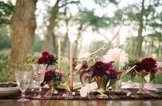 Purple And Burgundy Fall Woodland Wedding Inspiration