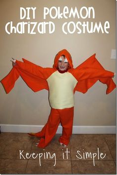 DIY Pokemon Charizard Dragon Costume #Pokemon #halloween #costume #Charizard @keepingitsimple