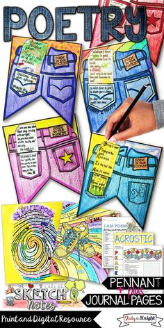"""English Language Arts   Middle school ELA   High School English  April is National Poetry Month. Students will love their poetry writing pages and Poem in Your Pocket pennant. English teachers   poetry lessons to get students enthusiastic about haiku, acrostic, I am poems, and """"My Selfie Poems."""" Get visual with the poetry organizers and templates for your students to kick start their creativity! ($)"""
