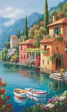 Gardens Discover Beautiful- - paint and art Watercolor Scenery Watercolor Landscape Modern Art Paintings Seascape Paintings Pictures To Paint Cool Pictures Cottage Art Life Paint Cute Wallpaper Backgrounds Watercolor Scenery, Watercolor Landscape, Seascape Paintings, Landscape Paintings, Art Paintings, Beautiful Paintings, Beautiful Landscapes, Belle Image Nature, Seaside Towns