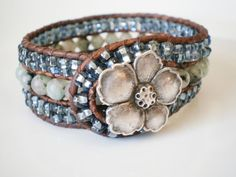 Beaded Leather Wrap Cuff Pale Lavender Czech by RopesofPearls