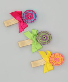 Take a look at this Bright Lolipop Clip Set by Hair Flair on #zulily today!  I can make those!
