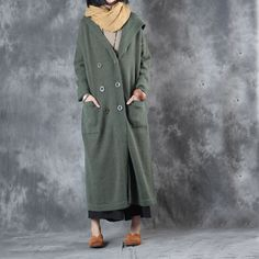 Ladylike Loose Green Coat Front Pockets Hooded Overcoat    #green #coat #plussize #fashion #elegant #vintage #hooded #woman #overcoat