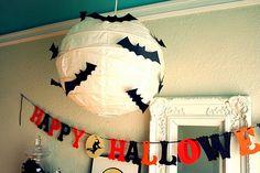 paper lantern with bats