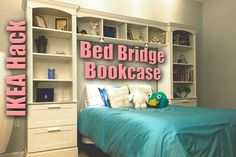 Bed Bridge Bookcase from IKEA BRIMNES + BILLY - IKEA Hackers - A Bed Bridge Bookcase is an efficient and stylish configuration that acts as nightstands a - Ikea Hack Bedroom, Girls Bedroom Storage, Bed Storage, Bedroom Furniture, Storage Hacks, Diy Bedroom, Trendy Bedroom, Bedroom Desk, Budget Bedroom