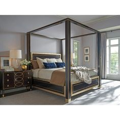 Shop for the Lexington Carlyle St. Regis Queen Size Canopy Bed with Silver Leaf Trim at Hudson's Furniture - Your Tampa, St Petersburg, Orlando, Ormond Beach & Sarasota Florida Furniture & Mattress Store Wood Canopy, Canopy Frame, Canopy Beds, Hudson Furniture, Hooker Furniture, Furniture Design, King Beds, Queen Beds, King Size Canopy Bed