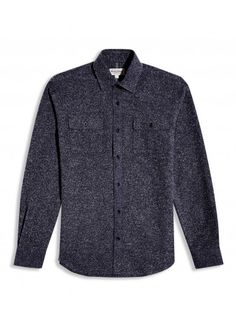 NAVY SPECK BRUSHED COTTON Casual Shirt