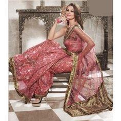 Pink Net Saree.