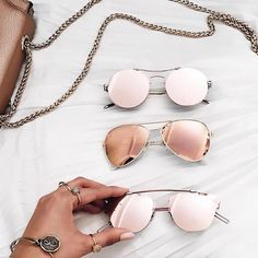 Rose gold sunnies are our favorite.    Follow  ShopStyle on Instagram to  shop e7b2f97eb0051