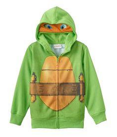 Nickelodeon Boys TNMT Michelangelo Costume Hoodie Sweatshirt green