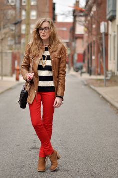 red pants + stripes + leather jacket