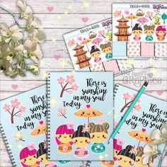 """There is sunshine in my soul today - We can create a DIY inspiration notebook with cute graphics like these and collect our favorite images, quotes and ideas, sounds great? I used """"Kokeshi graphics pack"""" in this sample :)"""