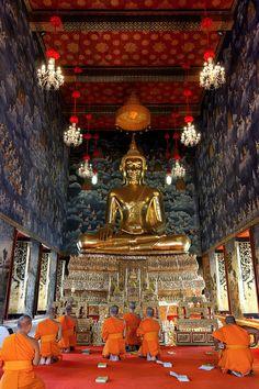 Wat Thewarat (Monks Praying in Ubosot) - Thailand