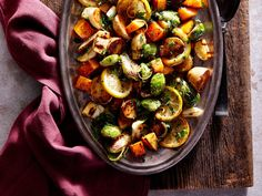 Lemon-Herb Sheet Pan Roasted Vegetables   A mix of colorful root vegetables may be your star side. Peeled, prechopped butternut squash saves time, but pieces tend to be irregular and small--we prefer peeling and cubing it yourself.