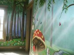 Enchanted Forest - Mural Idea in Fort Mill SC Forest Bedroom, Fairy Bedroom, Forest Nursery, Kids Bedroom, Painting Wallpaper, Mural Painting, Wall Wallpaper, Church Nursery Decor, Forest Mural
