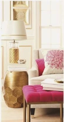 white and hot pink with gold accessories