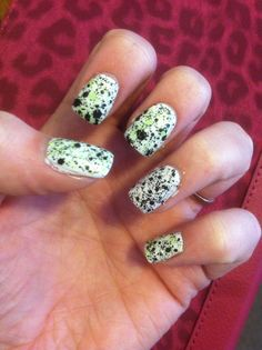 I did some more acrylics and put a splatter nail polish on