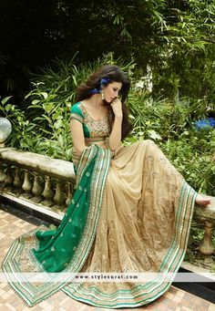 Green And Cream Net And Faux Georgette Designer Wedding Saree-59751