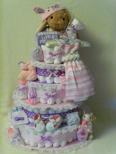 baby girl shower diaper cakes | Baby Boy or Girl 5 tier Diaper cake - an adorable baby shower gift ...