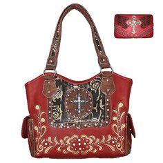Rhinestone Cross Flower Leather Shoulder Handbag Purse Wallet Matching Set in Red A25-5255, A23-5236 (Flower Cross Handbag) * You can get more details here