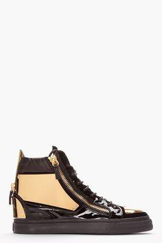 Giuseppe Zanotti Navy Velvet Metal-plated High-top Sneakers for men Giuseppe Shoes, Giuseppe Zanotti Heels, Gold Shoes, Men's Shoes, Shoe Boots, Leather Sneakers, Me Too Shoes, High Top Sneakers, Mens Fashion