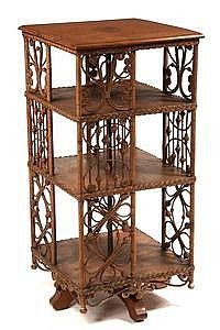 Heywood Wakefield Wicker Oak Bookcase ca this is a great piece of American furniture! Rattan Furniture, Funky Furniture, Furniture Styles, Victorian Furniture, Antique Furniture, Revolving Bookcase, Art Nouveau Furniture, Victorian Homes, Decoration