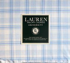 Amazon.com: Lauren Ralph Lauren University Bedding 4 Piece Cotton Queen Sheet Set Light Blue Stripes Plaid Crosshatch Pattern on White: Bedding & Bath