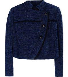 Proenza Schouler Asymmetrical Blue Tweed Jacket