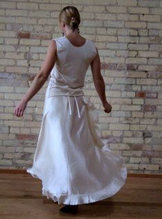 This beautiful ruffled silk wrap skirt is great for twirling!