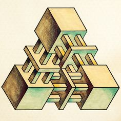 Impossible by odonodo on DeviantArt Mc Escher, Escher Art, Geometric Drawing, Geometric Shapes, Geometry Art, Sacred Geometry, Op Art, Penrose Triangle, Impossible Shapes