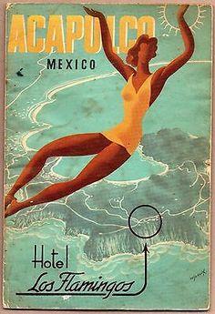 Vintage travel brochure Acapulco & Hotel Los Flamingos art deco 1940s or 1950s