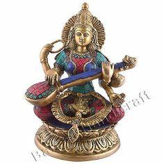 Saraswati Idol, Saraswati Statue, Wooden Statues, Brass Statues, Durga Maa, Religious Gifts, Hinduism, Ganesha, Vintage Metal