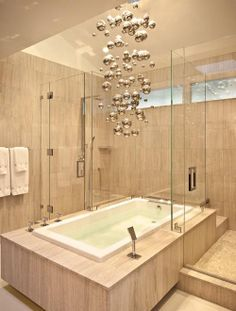 nice bathroom with particle bubble chandelier