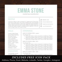 Resume Template - Professional, Creative and Modern Design with Free Cover Letter, Word Template for Mac or PC - The Emma