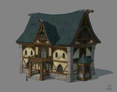 Medieval house, Ji Young Joo on ArtStation at https://www.artstation.com/artwork/KPbXX